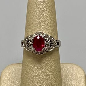 Jewelry - 14K White Gold Ruby and Diamond Ring Size 5 3/4